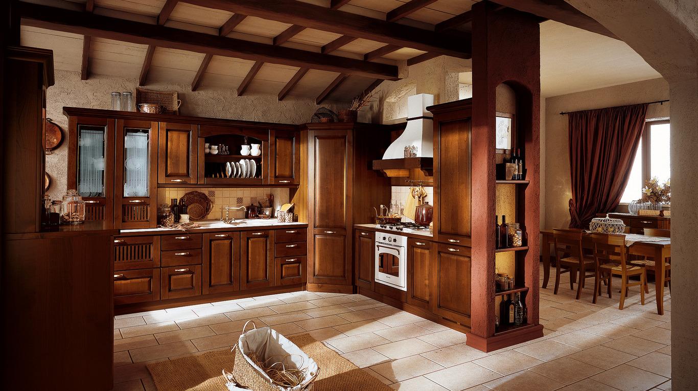 Cucina E Soggiorno Rustico cucine classiche roma - arredamenti l'opera